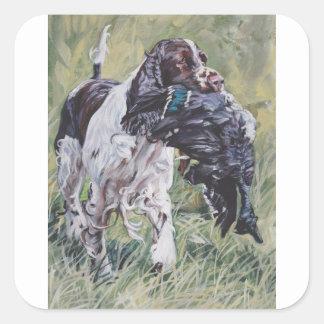 realistic English Springer Dog Fine Art Painting Square Sticker