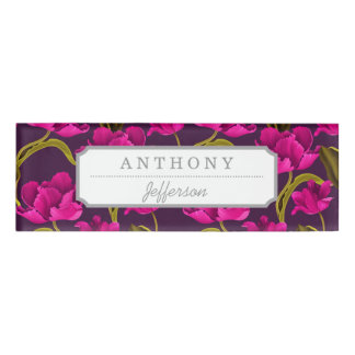 Realistic Flowers Pattern #4 Name Tag