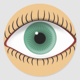 Realistic Funny Human Eye Round Sticker