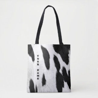 Realistic Holstein Cowhide Look Tote Bag