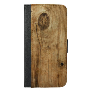 Realistic knotty hardwood iPhone 6/6s plus wallet case