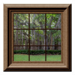 Realistic Lawn Trees Fake Window Scene Poster