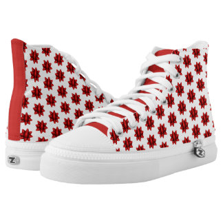 Realistic Red Christmas Bow Pattern High Tops