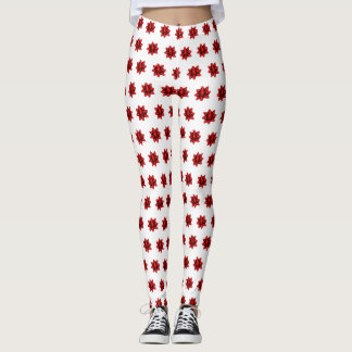 Realistic Red Christmas Bow Pattern Leggings