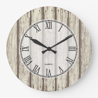 Realistic Rustic Painted Wood Planks Wall Clock