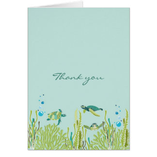 Realistic Sea Turtle Baby Shower thank you note Card