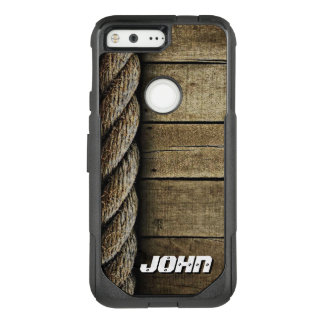 Realistic Wood and Rope Texture | Customized Name OtterBox Commuter Google Pixel Case