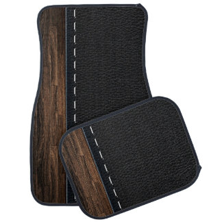 Realistic Wood and Stitched Leather Texture Floor Mat