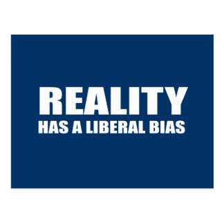 Reality has a liberal bias postcard