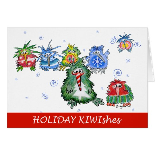 Really Cute Kiwi Cartoon Holiday Card