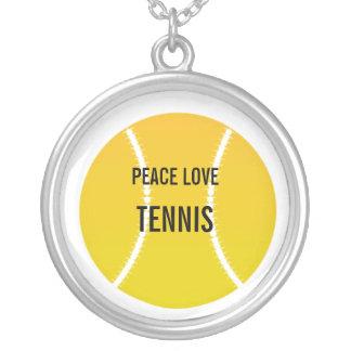 RealTennisBall, PEACE LOVE, TENNIS Round Pendant Necklace