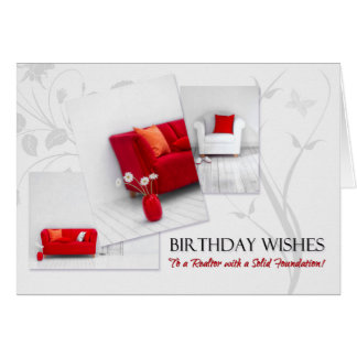 Realtor's Birthday Fun Red White Home Interior Card