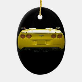 Rear View of a yellow custom corvette Ceramic Ornament