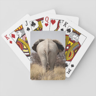 Rear view of elephant playing cards
