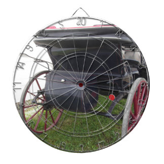 Rear view of old-fashioned horse carriage on green dartboard