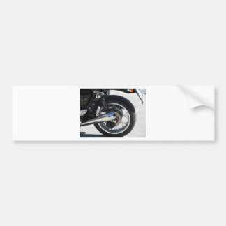 Rear wheel and chromed exhaust pipe of motorcycle bumper sticker