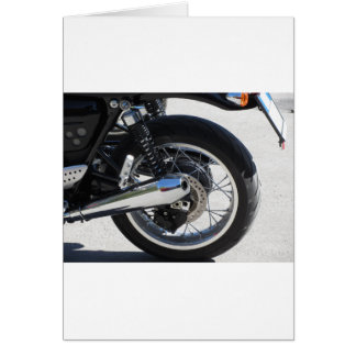 Rear wheel and chromed exhaust pipe of motorcycle card