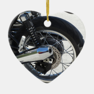 Rear wheel and chromed exhaust pipe of motorcycle ceramic heart decoration