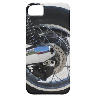 Rear wheel and chromed exhaust pipe of motorcycle iPhone 5 covers