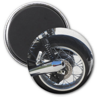 Rear wheel and chromed exhaust pipe of motorcycle magnet