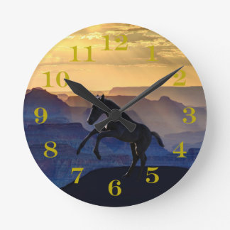 Rearing baby horse and canyons round clock