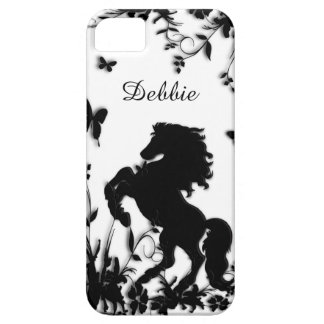 Rearing Black Stallion / Horse on White Barely There iPhone 5 Case