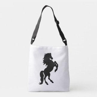 Rearing Black Stallion / Horse on White Crossbody Bag