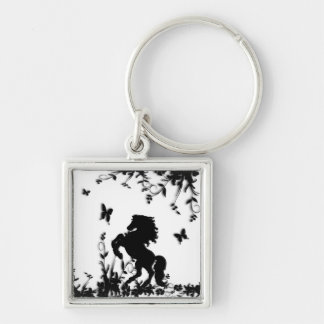 Rearing Black Stallion / Horse on White Silver-Colored Square Key Ring