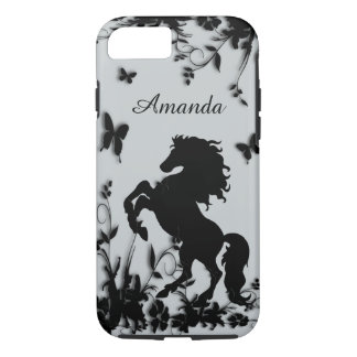 Rearing Black Stallion / Horse With Name iPhone 7 Case
