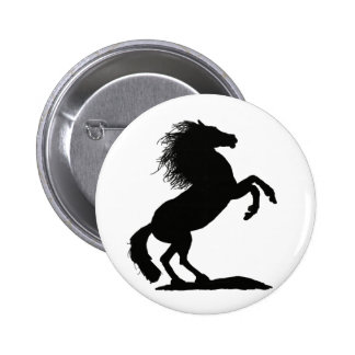 Rearing Black Stallion - Pinback Buttons