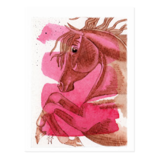 Rearing Chestnut Horse On Hot Pink Watercolor Wash Postcards