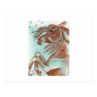 Rearing Chestnut Horse Turquoise Watercolor Wash Postcards