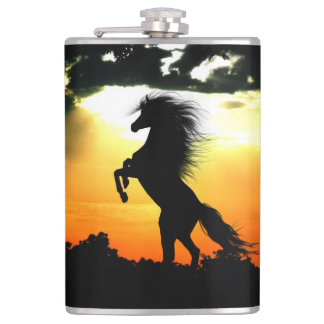 Rearing horse silhouette hip flask
