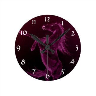 Rearing purple friesian horse Clock