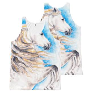 Rearing White Horse All-Over Print Tank Top