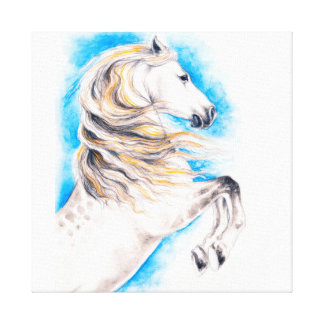 Rearing White Horse Canvas Print