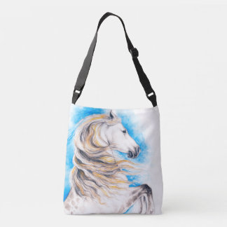 Rearing White Horse Crossbody Bag