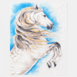 Rearing White Horse Fleece Blanket
