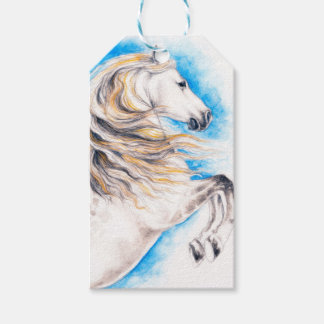 Rearing White Horse Gift Tags