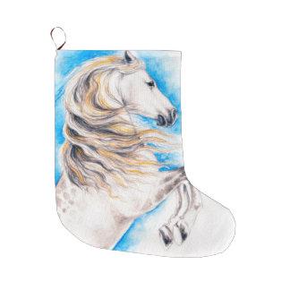 Rearing White Horse Large Christmas Stocking