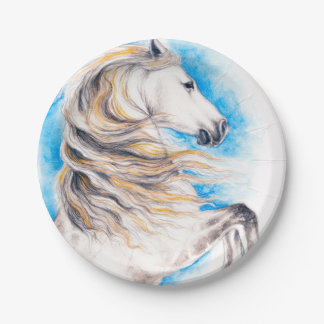 Rearing White Horse Paper Plate