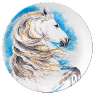 Rearing White Horse Plate