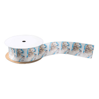 Rearing White Horse Satin Ribbon