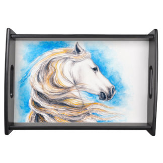 Rearing White Horse Serving Tray