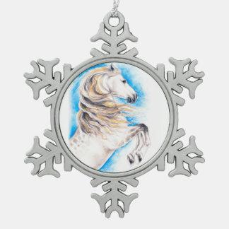 Rearing White Horse Snowflake Pewter Christmas Ornament