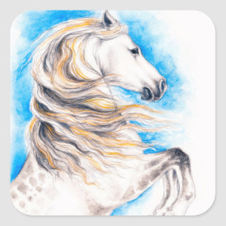 Rearing White Horse Square Sticker