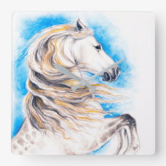 Rearing White Horse Square Wall Clock