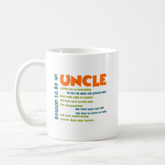 Reason To Be An Uncle Orange Blue and Green Words Coffee Mug