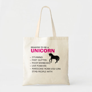 Reasons to be a unicorn budget tote bag