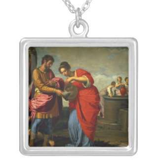 Rebecca and Eliezer at the Well, c.1626-27 Square Pendant Necklace